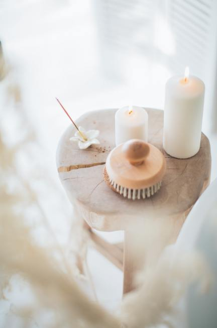 candles on wooden table