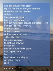 Read more about the article on a beautiful day like today – a poem