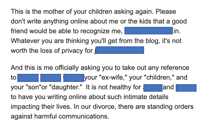 ex-wife says don't write about me or the kids, ever