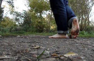 walk barefoot in the woods