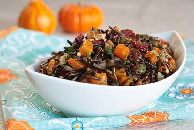 Wild-rice-pilaf-with-butternut-squash-cranberries-and-pecans