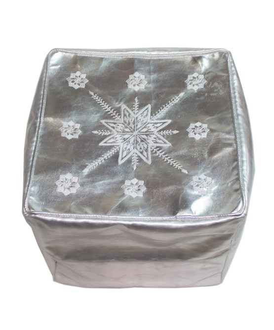 White Embroider Square Metallic Pouf -2560