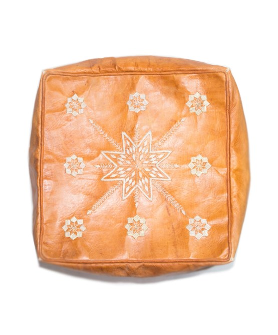 SandyBrown Embroider Square Pouf -0