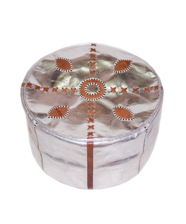 SaddleBrown Metallic Pouf-2534