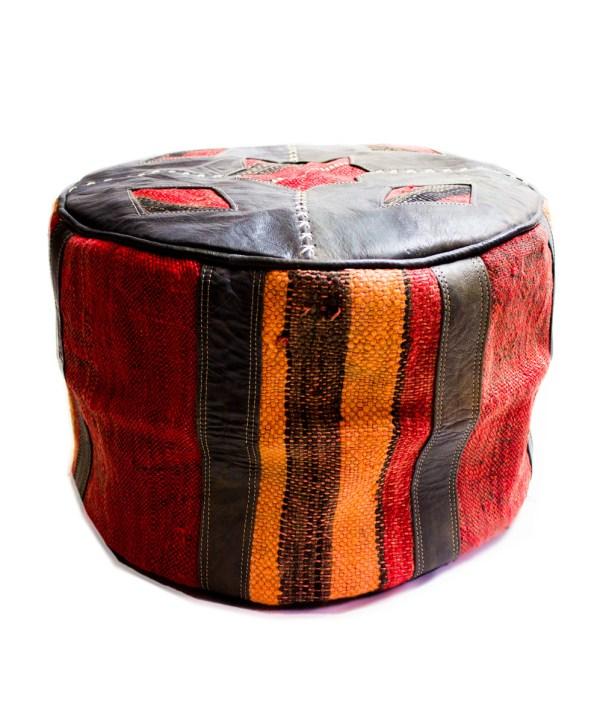 Black Wool Pouf-2512