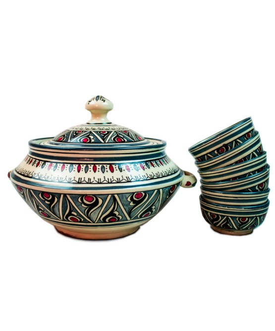 Ceramic Soup Tureen with his Bowls-0