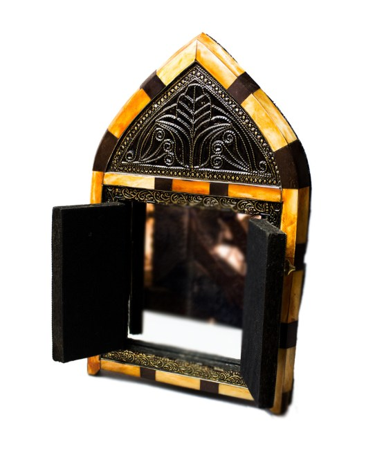 Moroccan Brass Mirror decorated with Camel bone-3328