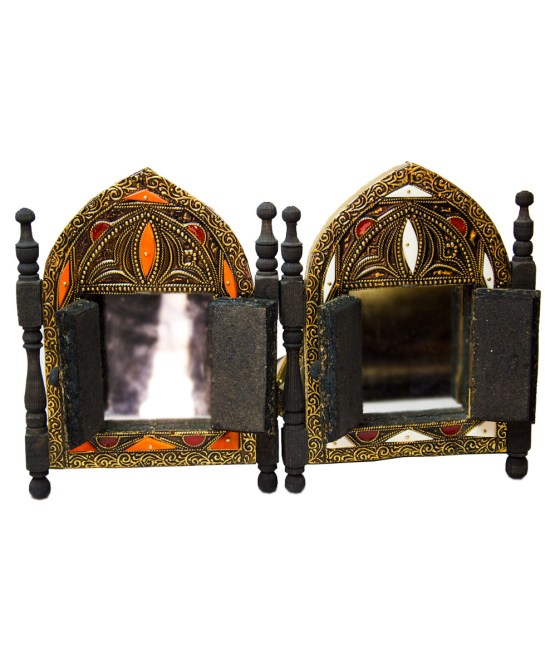 Moroccan Brass Mirror decorated with Camel bone-3327