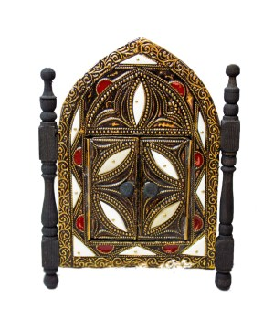 Moroccan Brass Mirror decorated with Camel bone-0