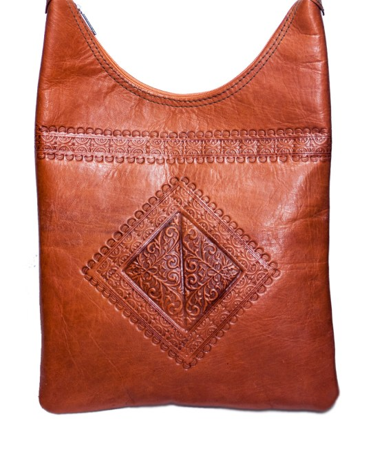 Brown leather Saddle bag-3488
