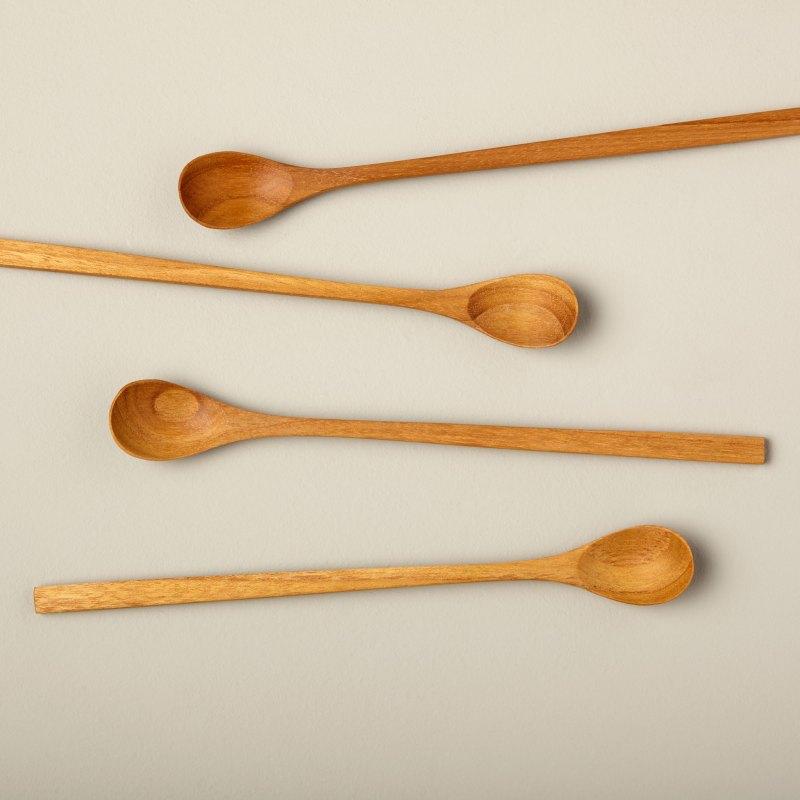 Teak Long Spoons, Set of 4