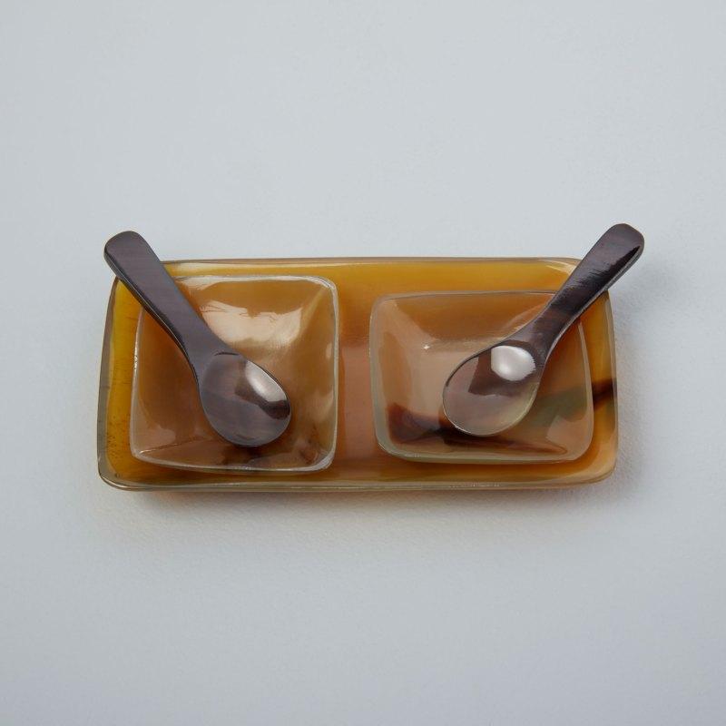 Horn Rectangular Salt and Pepper Set