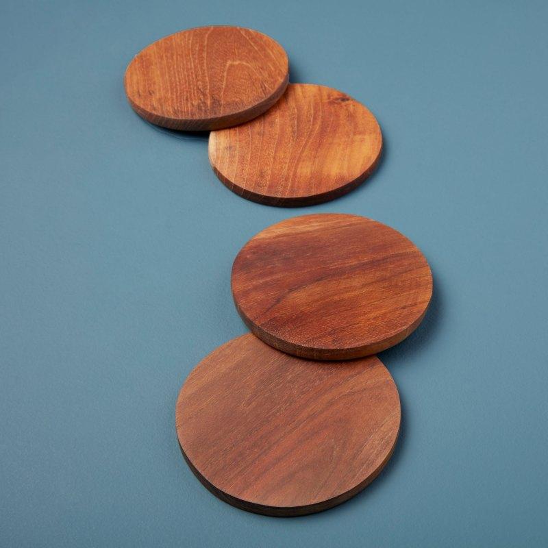 Teak Round Coasters Set of 4