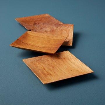 Teak Small Plates Set of 4