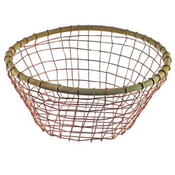 Copper Wire & Cane Round Basket