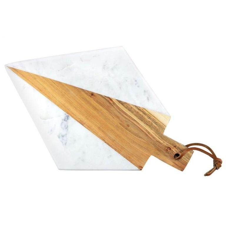 White Marble & Acacia Geometric Angle Board