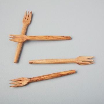 Olive Wood Forks, Set of 4