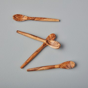 Olive Wood Spoons, Mini Set of 4