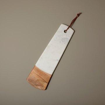 White Marble & Wood Long Rectangular Board