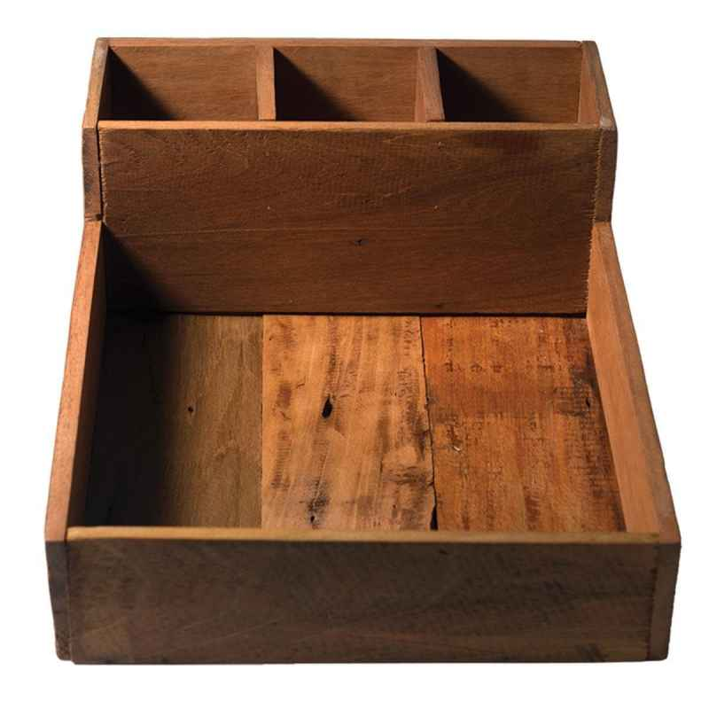 Reclaimed Wood Tray with Upright Dividers