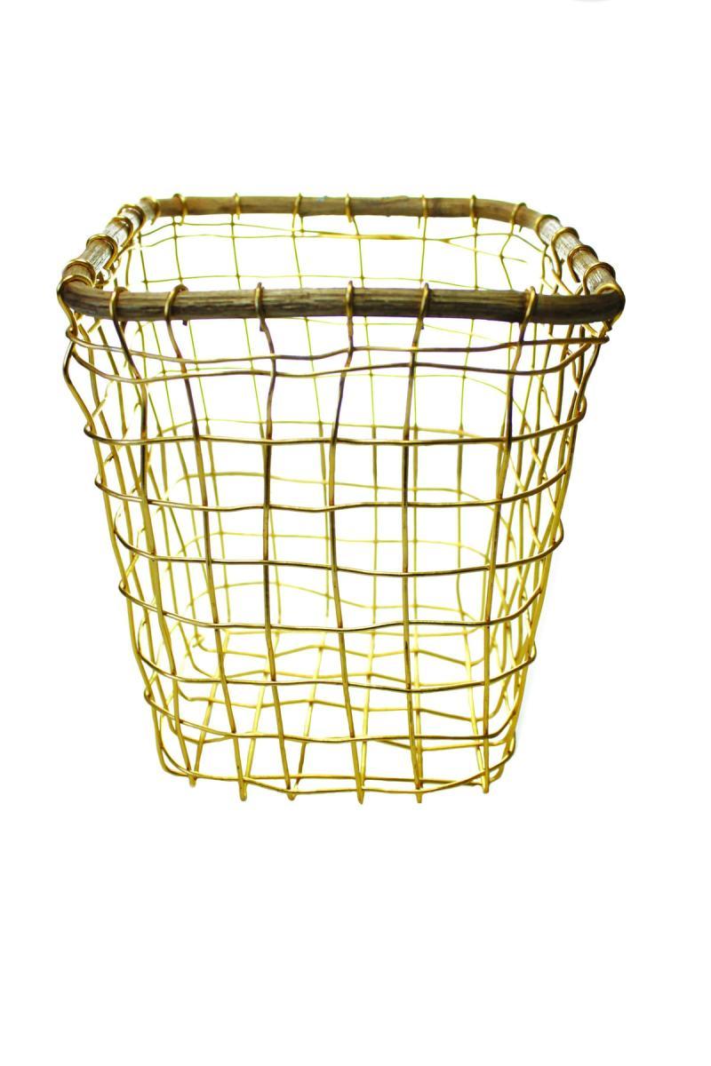 Gold Wire & Cane Utensil Holder