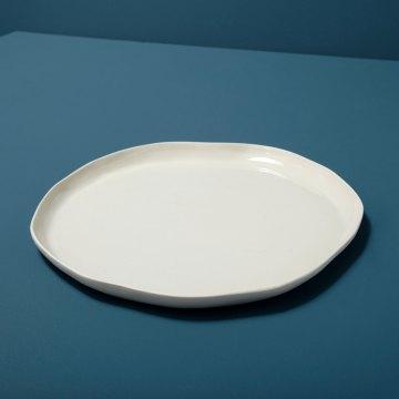 Stoneware Flat Plate White Large