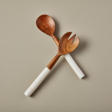 White Marble & Wood Serving Set