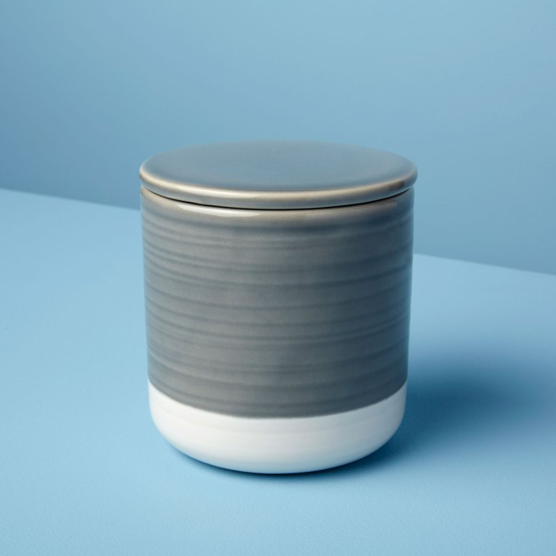 Stoneware Container with Lid Gray & White, Medium