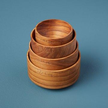 Teak Measuring Cups, Set of 4