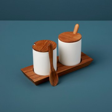 Teak Tray with Ceramic Mini Cellars with Teak Lid & Spoon