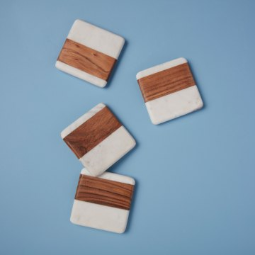 White Marble & Wood Square Coasters, Set of 4