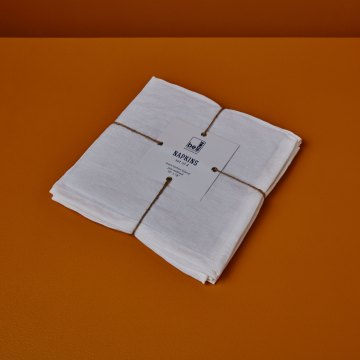 Linen Napkins White Set of 4