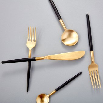 Stainless & Gold Flatware Set of 5