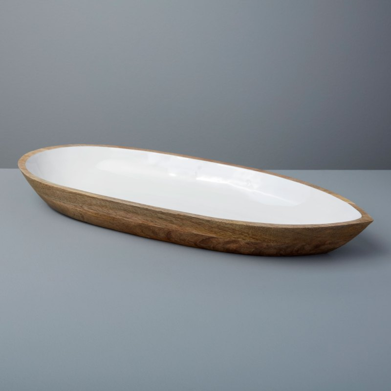 Mango Wood & White Enamel Oval Dish, Large