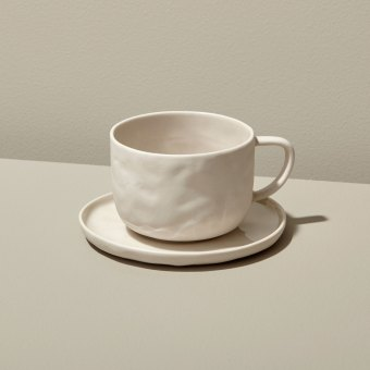 Stoneware Tea Cup & Saucer, Sterling