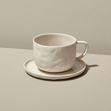 Stoneware Tea Cup & Saucer ,White