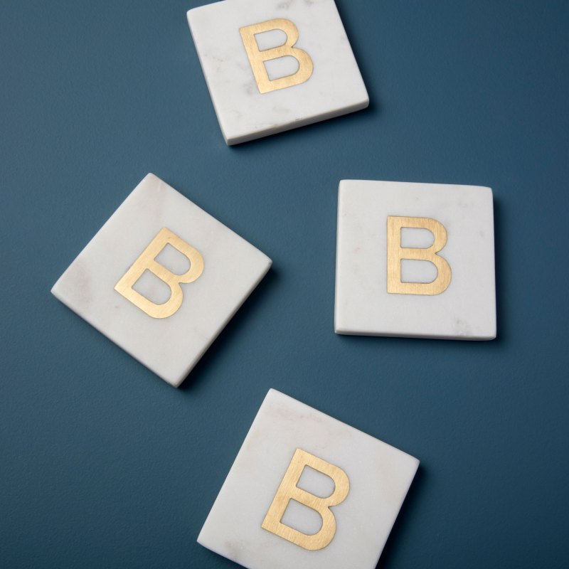 White Marble with Gold Monogram Coasters, S/4 Letter B