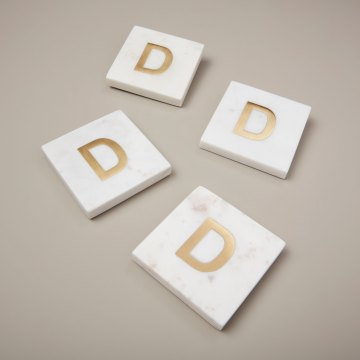 White Marble with Gold Monogram Coasters, S/4 Letter D