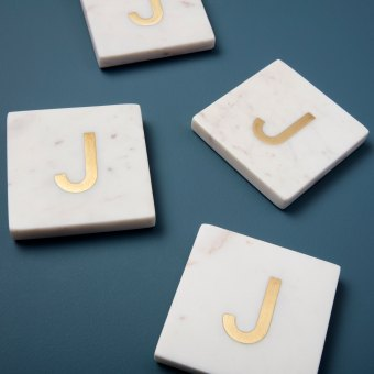 White Marble with Gold Monogram Coasters, S/4 Letter I
