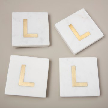 White Marble with Gold Monogram Coasters, S/4 Letter L