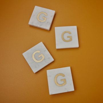 White Marble with Gold Monogram Coasters, S/4 Letter G