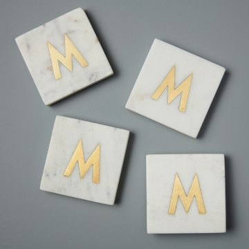 White Marble with Gold Monogram Coasters, S/4 Letter M
