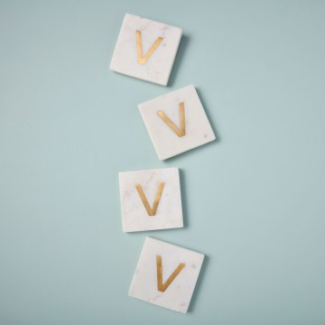 White Marble with Gold Monogram Coasters, S/4 Letter V