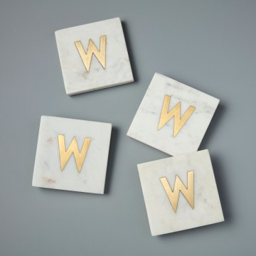 White Marble with Gold Monogram Coasters, S/4 Letter W