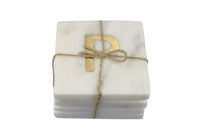 White Marble with Gold Monogram Coasters, S/4 Letter P