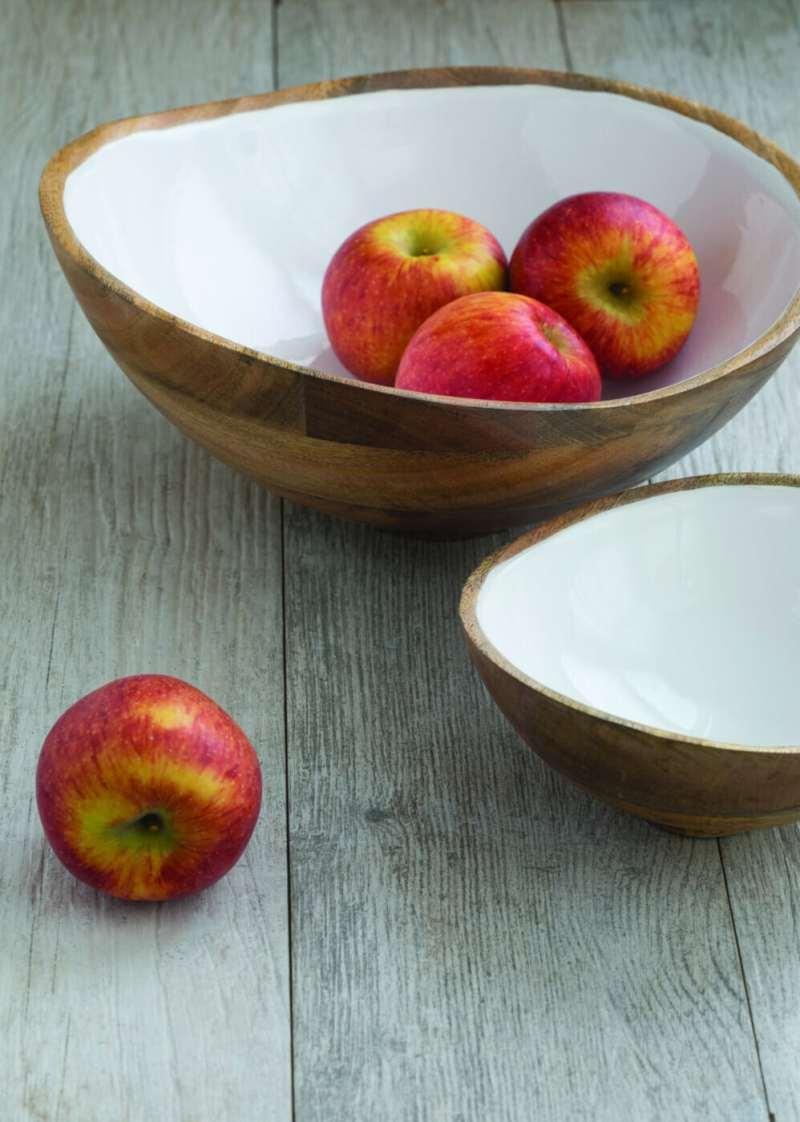 Mango Wood & White Enamel Bowl, Large