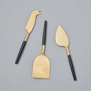 Black & Gold Cheese Set of 3