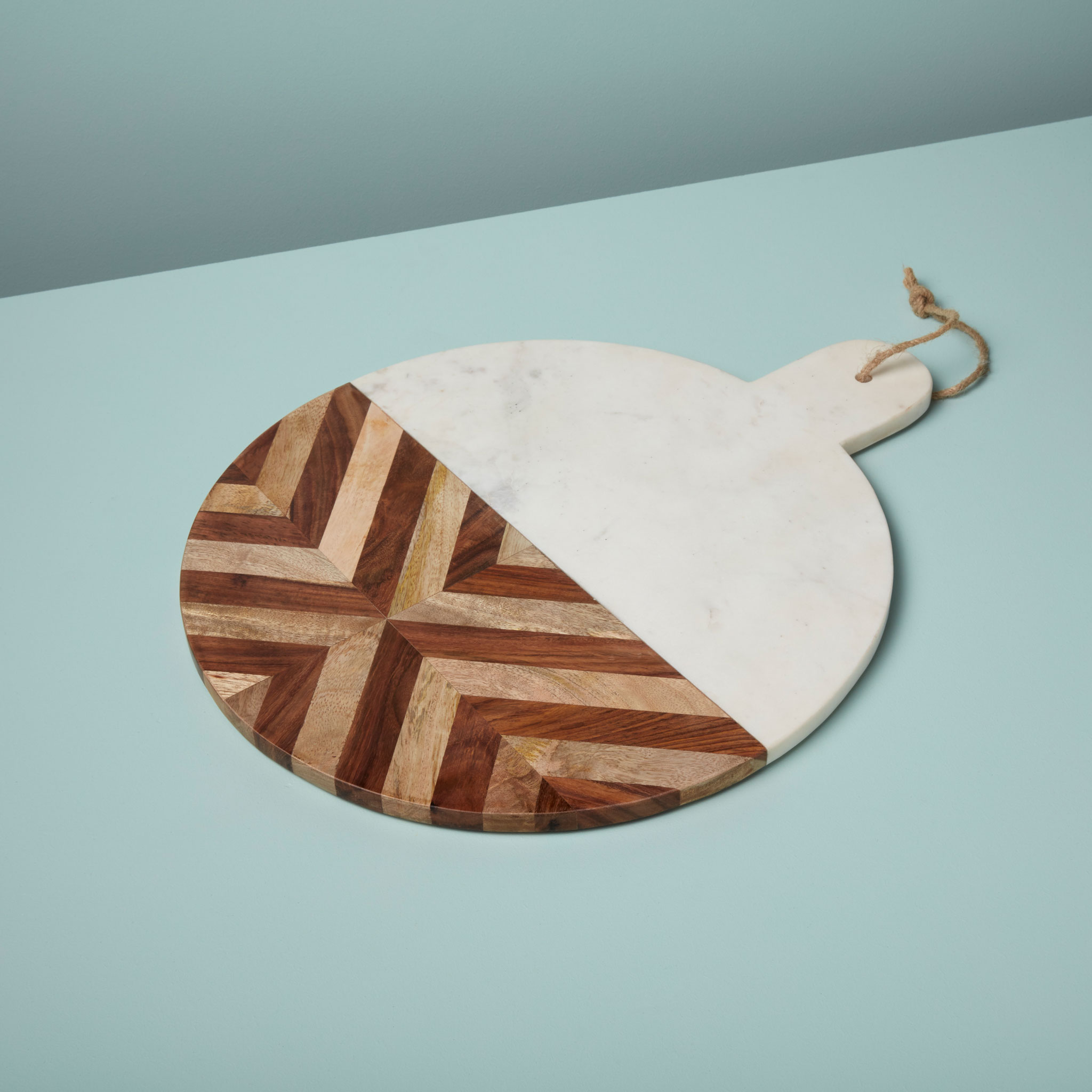 Be Home White Marble and Wood Mosaic Round Board XL 58 94