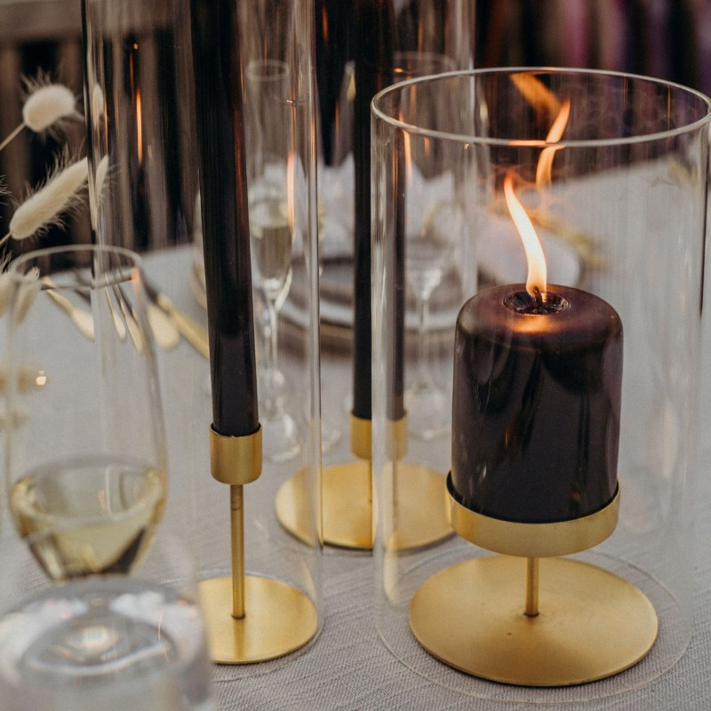 Gold Pillar Candle Holder, Short