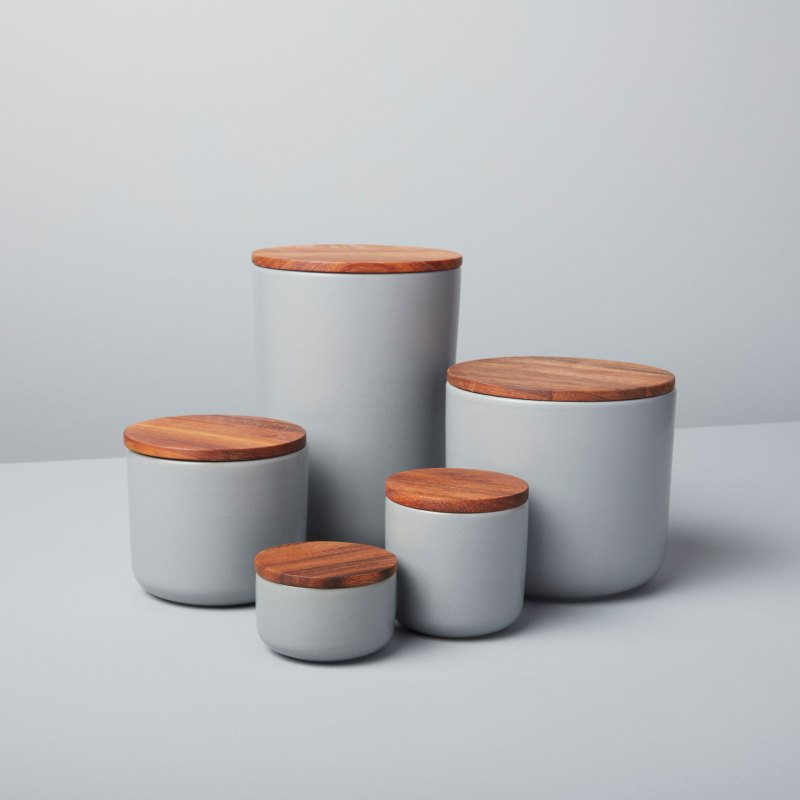 Stoneware Container with Acacia Lid, Storm, Extra Small